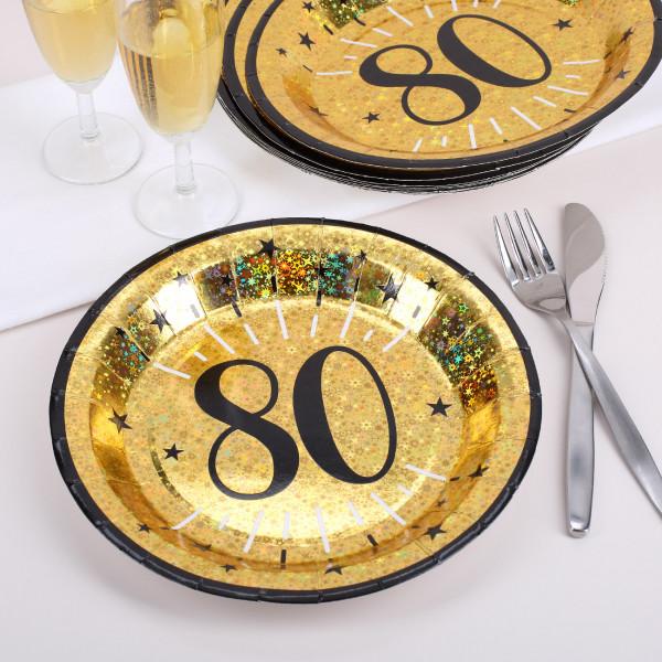 Pappteller in gold zum 80. Geburtstag