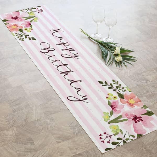 """Tischläufer """"Happy Bithday"""" mit Blumen und Blüten bedruckt"""