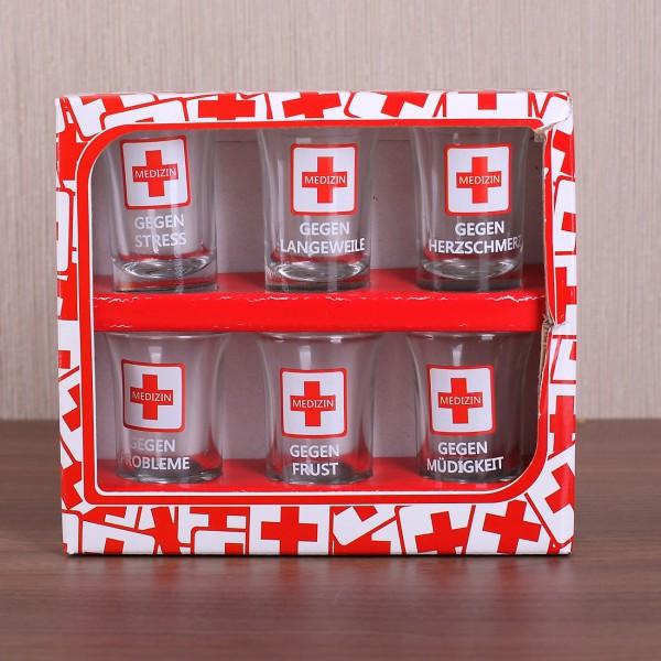 6er Set Schnapsgläser für Medizin