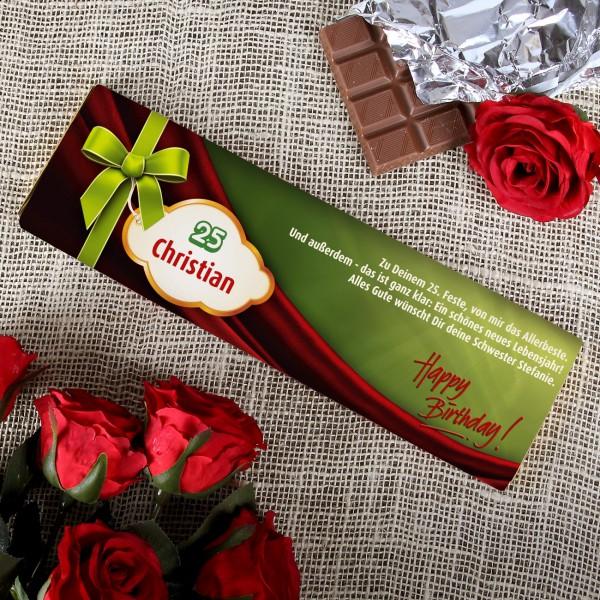300g Happy Birthday Schokolade mit Wunschangaben