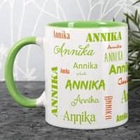 Tasse mit Ihrem Namen in verschiedenen Schriftarten - hellgrün