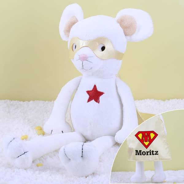 Super Maus Kuscheltier mit Ihrem Wunschnamen und Initial auf dem Cape
