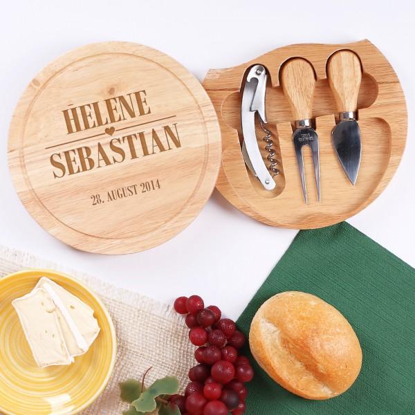 Hochzeitsgeschenk Holzbrett für Käse Liebhaber