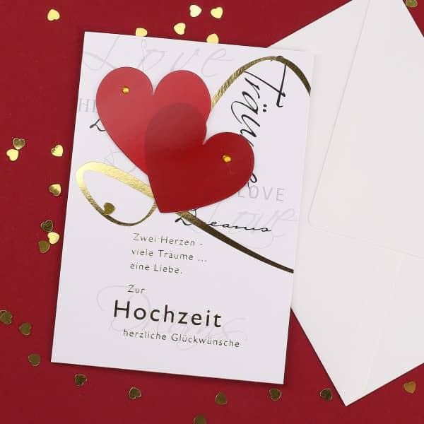 3D Glückwunschkarte zur Hochzeit Zwei Herzen
