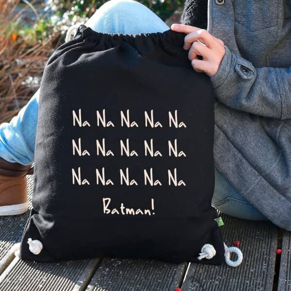 Schwarzer Baumwoll-Rucksack bedruckt mit Ihrem Wunschtext