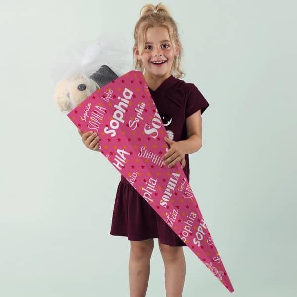 Rosa Schultüte für Mädchen mit Name in verschiedenen Schriftarten