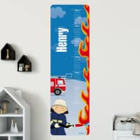 Wandtattoo Messlatte mit Feuerwehrmotiv und Namensaufdruck