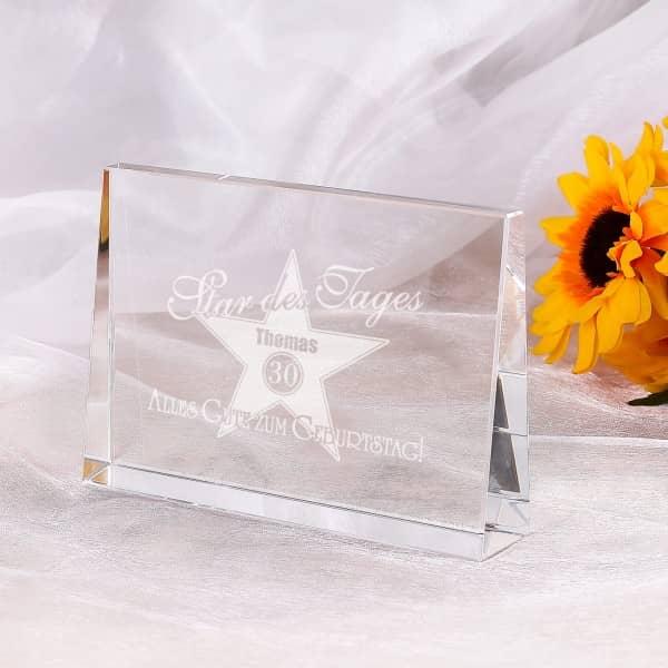 Glasblock zum Geburtstag - Star des Tages