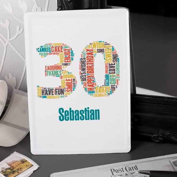 Postkarte aus Blech zum 30. Geburtstag mit Name
