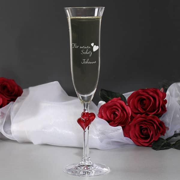 Sektglas L'Amour mit Liebesmotiv und Gravur