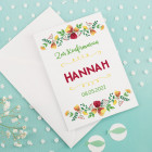 Individuell bedruckte Klappkarte zur Kommunion, Konfirmation oder Taufe mit hübschem Blumenkranz