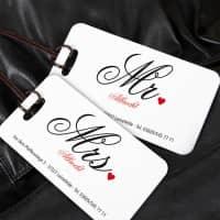Kofferanhänger für die Flitterwochen Mr und Mrs mit Wunschnamen