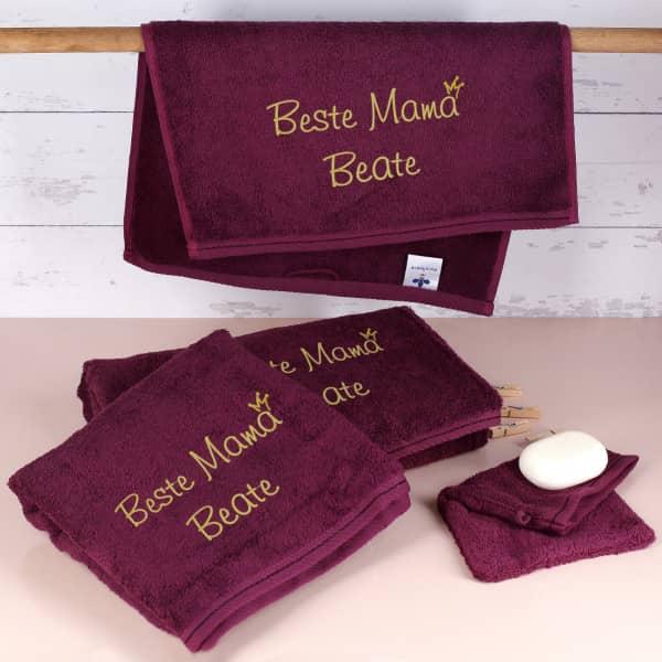 Beste Mama - Handtuchset in Brombeere mit Name