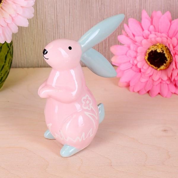 Osterdekoration Osterhase in rosa aus Keramik