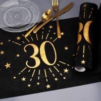 Tischläufer aus Vlies zum 30. Geburtstag - schwarz/gold