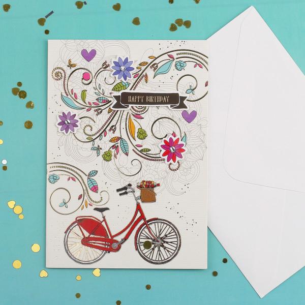 3D Glückwunschkarte zum Geburtstag Fahrrad