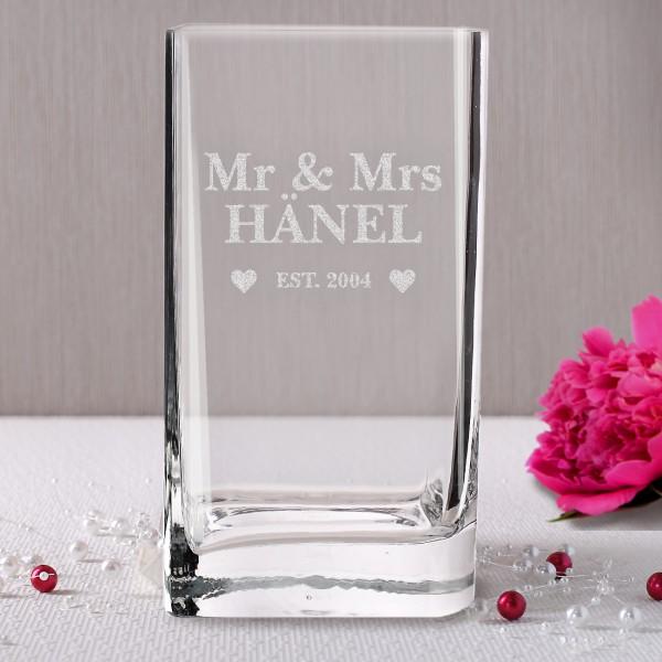 Vase zur Hochzeit Mr & Mrs mit Name