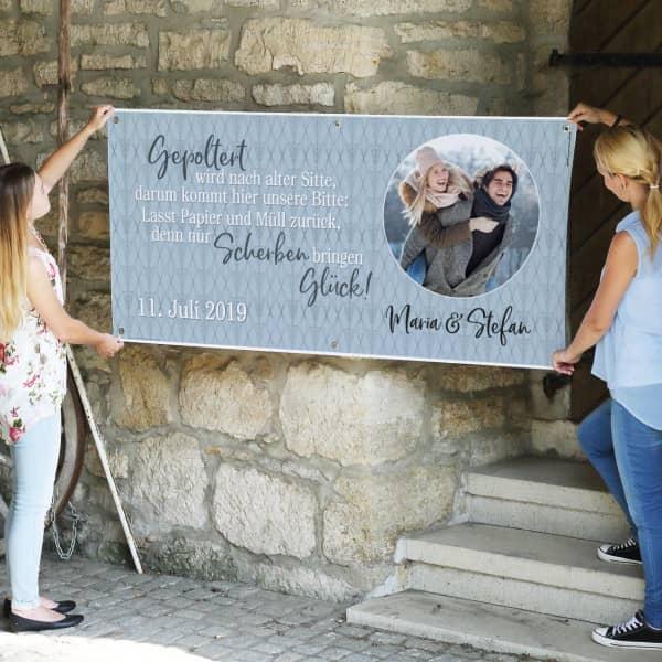 Individuellfotogeschenke - Modernes XXL Banner zum Polterabend mit Foto - Onlineshop Geschenke online.de