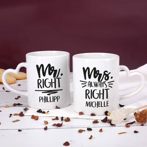 Paartassen zum Valentinstag mit Mr Right und Mrs always Right Motiv