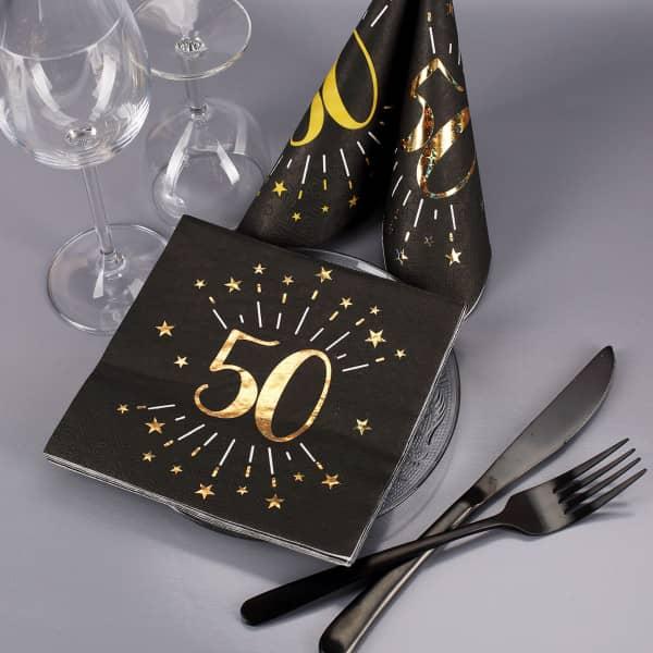 edle Servietten zum 50. Geburtstag