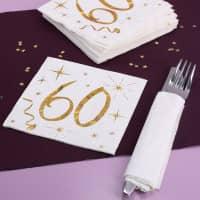 Weiße Servietten zum 60. Geburtstag in Gold-Metallic