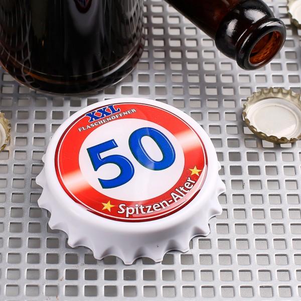 XXL-Flaschenöffner mit Magneten zum 50.