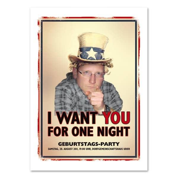 Einladungskarte mit Ihnen als Uncle Sam und bedruckt mit Ihrem Wunschtext