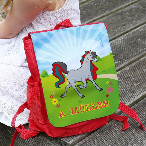 Kindergarten Rucksack mit Pferd und Wunschname bedruckt