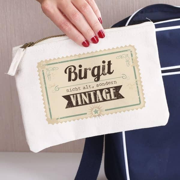 Nicht alt, sondern vintage! persönliche Kosmetiktasche zum Geburtstag