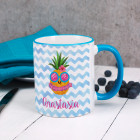 Tasse mit Ananasmotiv und Ihrem Namen