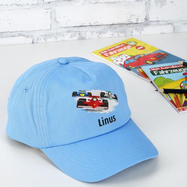 Hellblaues Basecap für kleine Rennfahrer