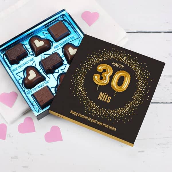 Happy 30 - Lindt Pralinen zum 30. Geburtstag mit Name und Wunschtext, 100g