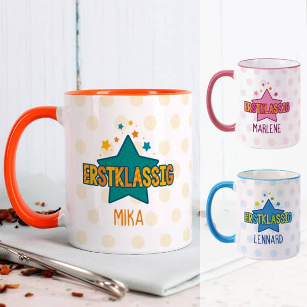 Erstklassig Tasse in drei Farben zum Schulanfang