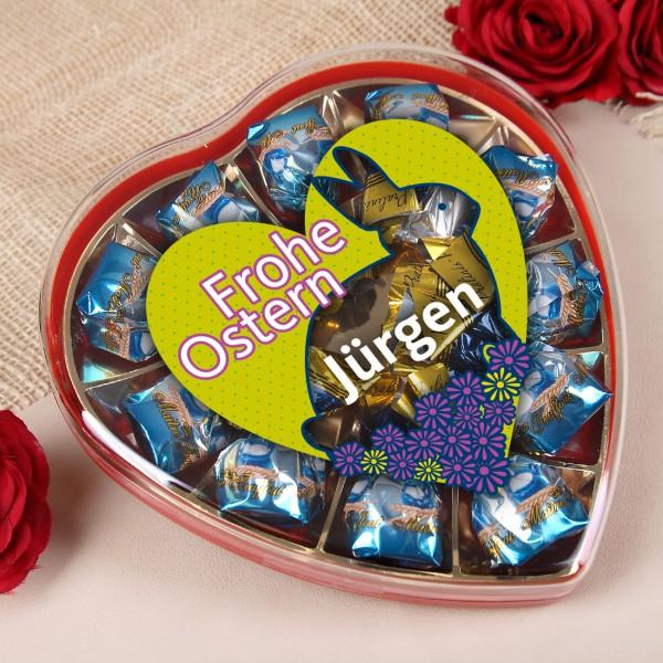 Frohe Ostern Pralinen in Herzdose mit Wunschname