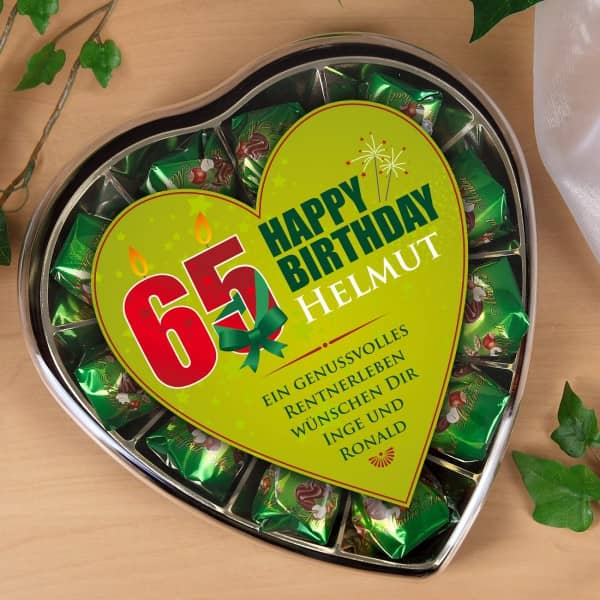 Pralinen zum 65. Geburtstag mit Wunschtext bedruckt