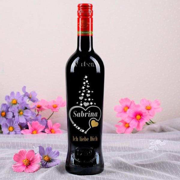 Weinflasche Ich liebe Dich mit Swarovski-Elements