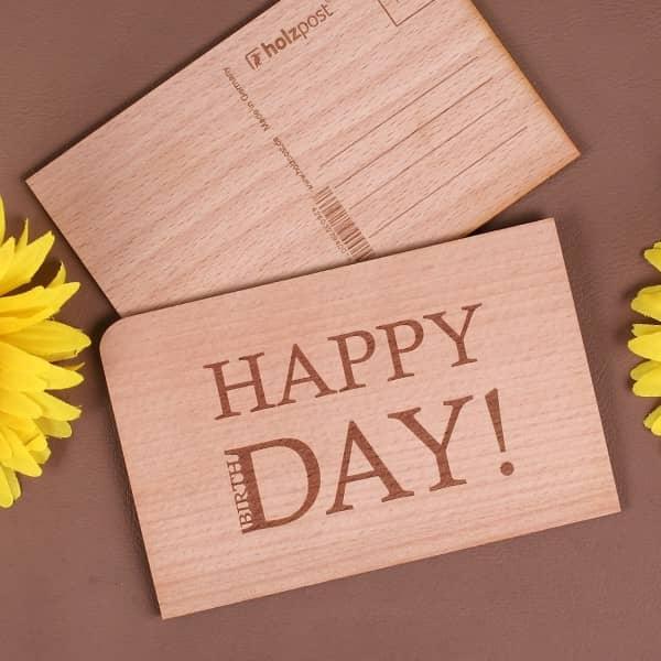 Holzpostkarte zum Geburtstag - Happy BirthDay