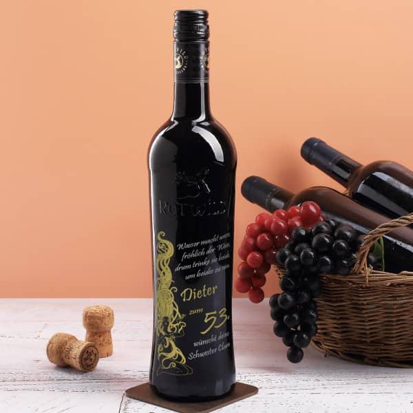 Gravierte Rotweinflasche zum Geburtstag