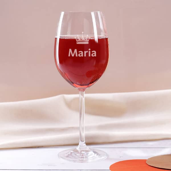Leonardo Weinglas mit Krone und Name graviert