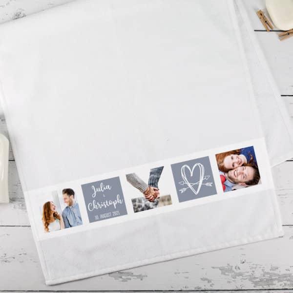Hochzeitsgeschenk - Handtuch mit Fotos, Herz, Namen und Wunschtext