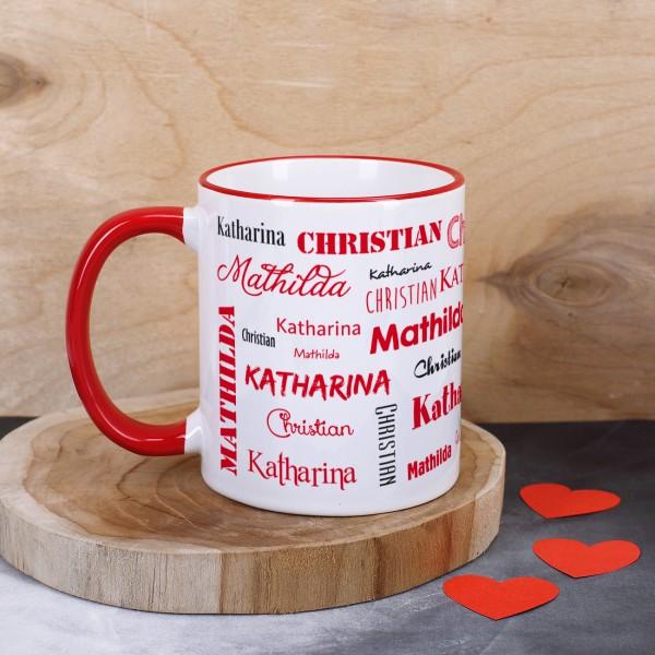 Tasse mit drei Namen, rot