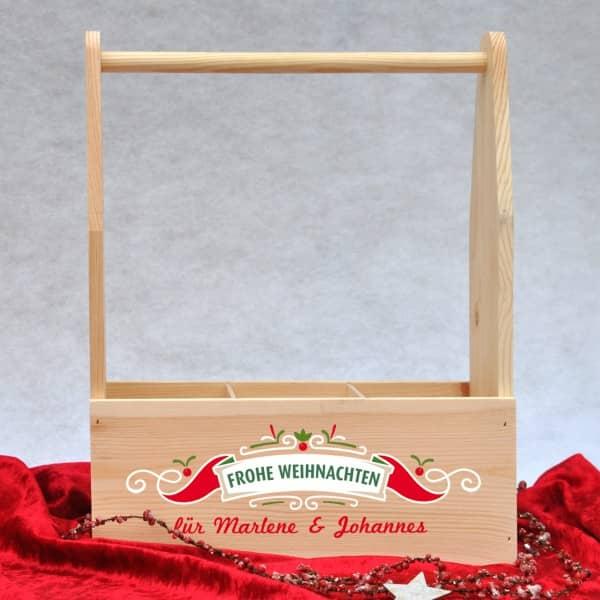 Frohe Weihnachten bedruckte Getränke Kiste für 3 Flaschen Wein oder Bier