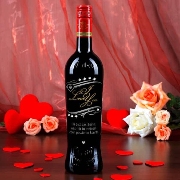 Persönliche Weinflasche I Love You mit Swarovski-Elements