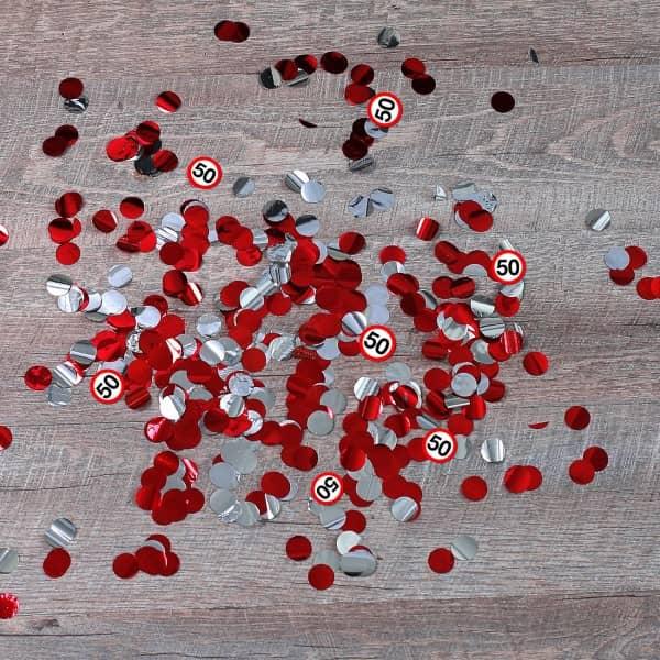 Inhalt - rotes und silbernes Konfetti mit 50er-Verkehrsschildern