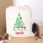 Geschenkesack zu Weihnachten mit Wunschname und Tannenbaum