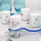 4 Foto-Kerzen als Tischdeko für Taufe oder Babypullern - blau