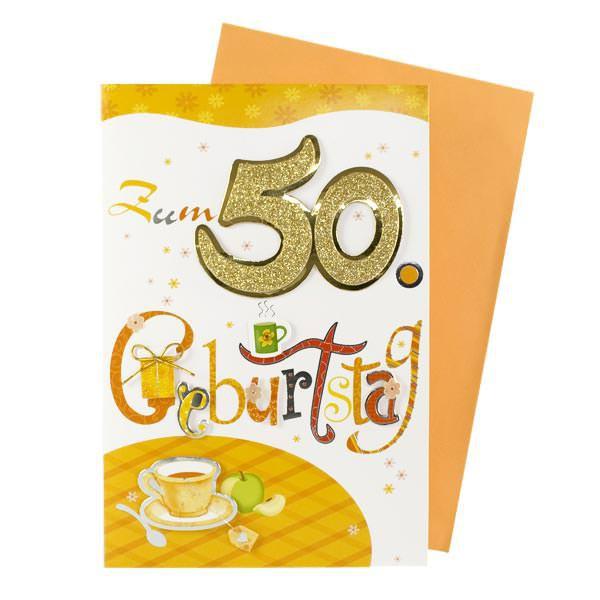 Grußkarte zum 50. Geburtstag mit Glitzer