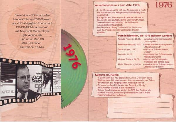 Geburtstagskarte mit historischen Ausschnitten 1976
