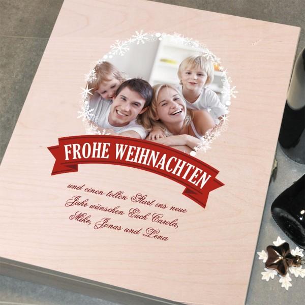 Holzbox mit Gravur - Geschenkverpackung mit Foto zu Weihnachten