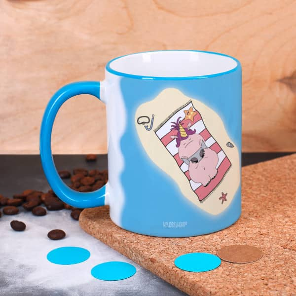 Knuddelhorn Tasse mit Sommermotiv und Wunschtext
